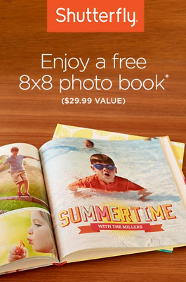SHUTTERFLY 8x8 HARD COVER PHOTO BOOK Code 6/30/20