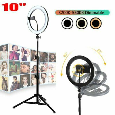 "10"" Dimmable LED Ring Light Selfie MakeUp Lamp Video Lighting Phone Live Youtube"