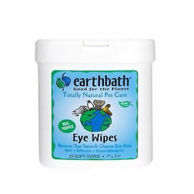 EarthBath Eye Wipes Remove Tear Stains and Cleanses - 25 Count | Pack of 6