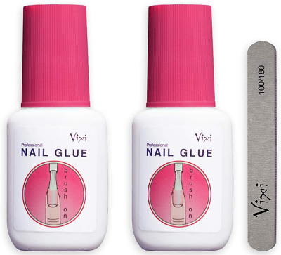 2 x 15g By Vixi EXTRA STRONG NAIL GLUE with BRUSH and FREE PREP FILE Clear Dry