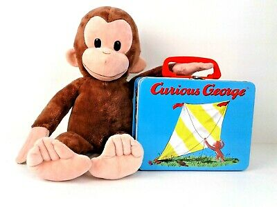 Curious George Plush Doll and Curious George Metal Lunch Box Combo