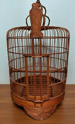 Vintage Antique Bamboo Wood Hand Carved Bird Cage