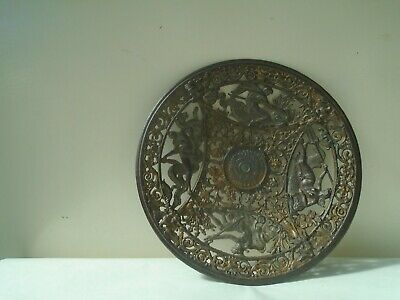 Splendid antique Coalbrookdale cast iron dish with ornate Greek gods design LOOK