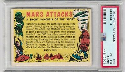 1962 Mars Attacks #55 Checklist Psa 4 Mk Vg-Ex  Topps Bubbles Inc.