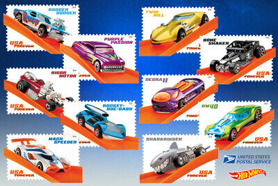 USPS New Hot Wheels Pane of 20 Forever Stamps - FREE S&H