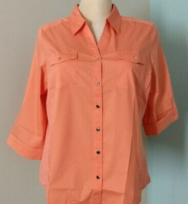 Womens Plus 4X Classic Button-Up Shirt PEACH Croft & Barrow Knit Side Panels NEW