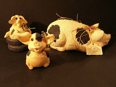 3 Vintage - Pete Apsit Pig Figurines - Black And White Spotted Pigs