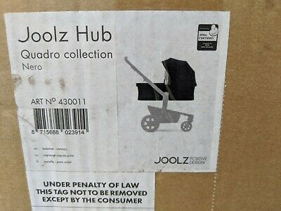 Joolz Hub Quadro Collection Bassinet & Canopy Only. Color is Nero Black.