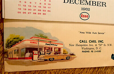 1963 Esso Gas Station Wall Calendar - D.C. - Humble Oil & Refining Advertising