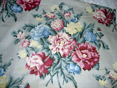 Vintage 40s 50s PINK PEONY FLORAL Bouquet Barkcloth Era Curtains 4 Panels