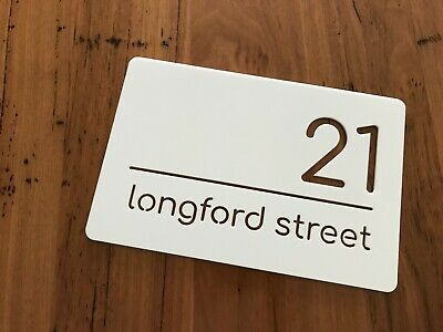 Personalised House Number Sign Plaque Street Name White Acrylic Housewarming