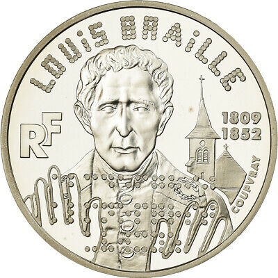 [#487557] Monnaie, France, Louis Braille, 100 Francs, 1999, Paris, FDC, Argent