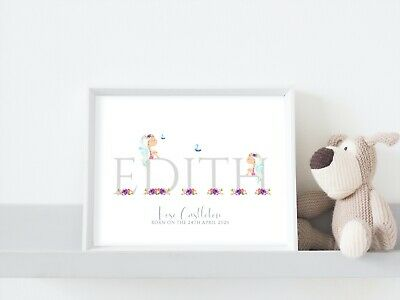 Personalised New Baby Girl Nursery Print A4 Grey Fairies Christening Birth Gift