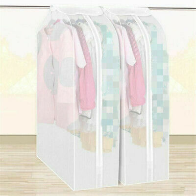 Dustproof Hanging Clothes Bag Dust Cover Garment Suit Storage Organizer White ET