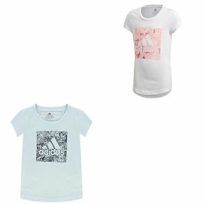 adidas Must Haves Doodle Badge of Sport Box Junior Tee Shirt Girls Kids Top