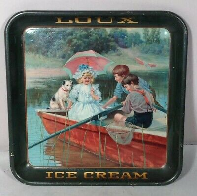 Vintage 1906 Loux Ice Cream Tray Meek Co Artist Carl Hirschberg Children Fishing