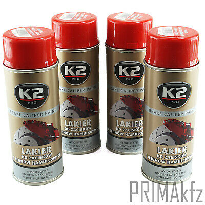 4x ORIGINAL K2 Bremssattellack Spray Brake Caliper Paint Rot 400ml