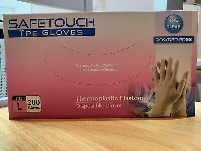 Large Clear Powder free Disposable TPE, 200 Gloves ( 100 Pairs )