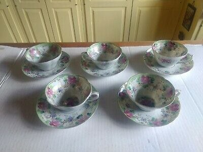 Set of 5 Antique Hand Painted Porcelain China Cups & Saucers