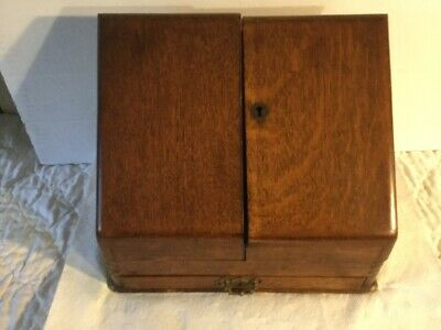 Antique Oak Desktop File Organizer with 1 Drawer And Many Slots Compartments