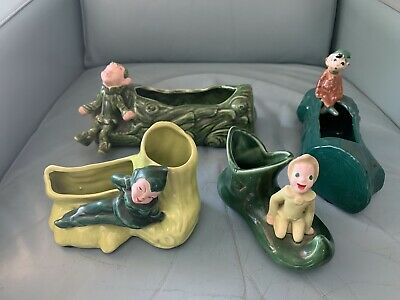 Lot of (4) Vintage 1950s California Pixie/Elf Planters In Excellent Condition