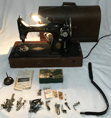 Heavy Duty Vtg Singer Sewing Machine 99-13 Denim Leather, Bentwood Case With Key