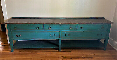 "Antique Painted Oak Sideboard Buffet Server Cabinet Console Table,99.5""  WE SHIP"