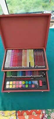 8 Drawing pencils and 60 colouring pencil set with paints. Used Artist box.