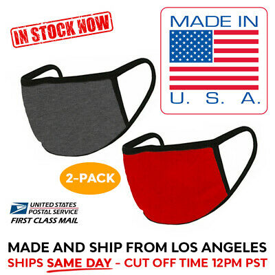 MADE IN USA 2 Pack Washable Reusable Cotton Face Mask Double Layer RED DARK GRY