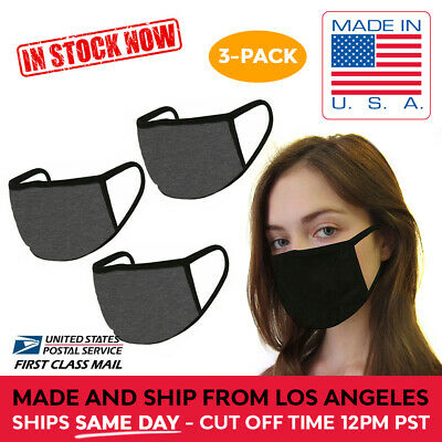MADE IN USA 3 Pack Dark Grey Washable Reusable Cotton Face Mask Double Layer