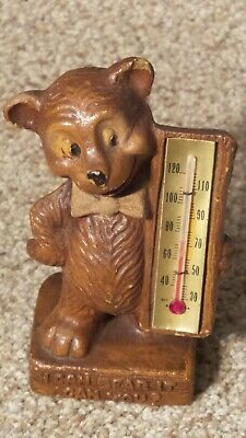 Vintage Jackson Hole Wyoming Souvenir Thermometer Bear Figurine Made in U.S.A.