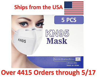 KN95 Disposable Protective Face Mask, Packs of 5. KN95 Masks