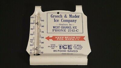 Original Vintage Grosch & Mader Ice Company Metal Tin Litho Thermometer