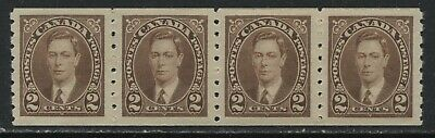 Canada 1937 KGVI 2 cents Coil strip of 4 unmounted mint NH