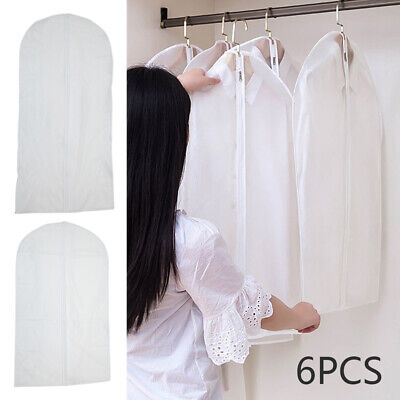 Set of 6 Clear Suit Cover Hanging Garment Storage Bags Dress Clothes Protector