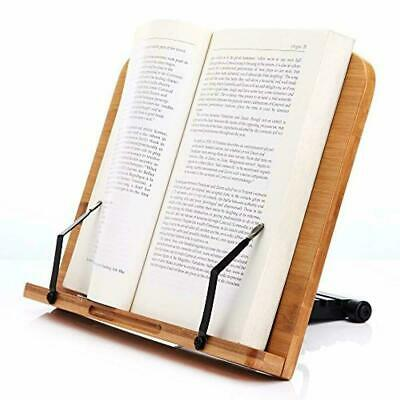 BAMBOO BOOK STAND Adjustable Document Cookbook Holder Reading Rest Desk Rack