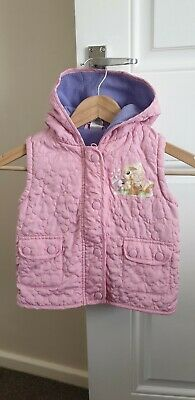 Girls Hooded Padded Gilet Pink Age 2-3 Yrs Excellent Used Condition