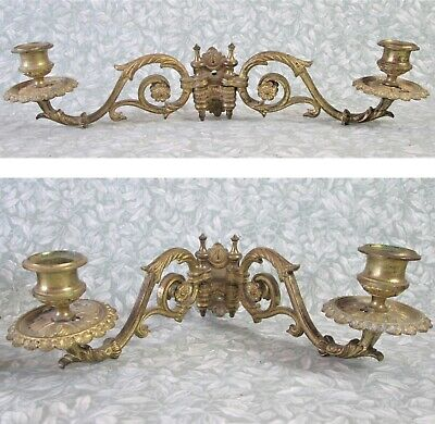 Antique Pair French Bronze Piano Candle Holders Double Arm Wall Lights Sconces