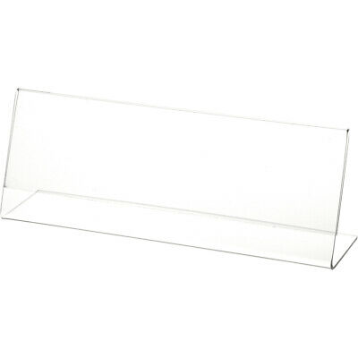 "Plymor Clear Acrylic Sign Display / Literature Holder (Angled), 10"" W x 3.5"" H"