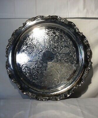 """Lunt 15"""" V-91 Round Silver Plate Tray Estate Find"""