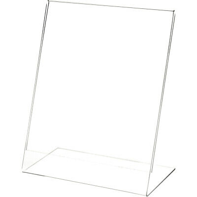 "Plymor Clear Acrylic Sign Display / Literature Holder (Angled), 8"" W x 10"" H"