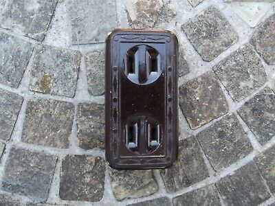 Levitron Vintage Deco Bakelite Flush Receptacle Wall Outlet, Free Shipping!