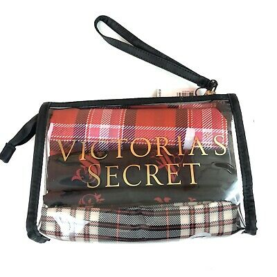 New Victoria's Secret Travel Trio Set Laundry, Lingerie, Shoe bags Clear Case