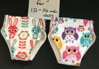 """2 New Dolls Nappies Fit 1st Baby Born Baby Alive  Dolls Clothes 12-14""""/30-36cm"""