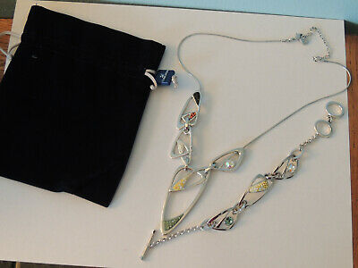 Authentic Swarovski Pendant Necklace And Bracelet Set Vintage Yellow Green Clear