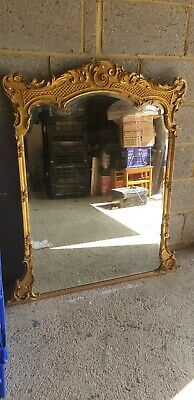 ANTIQUE 19TH CENTURY CARVED AND GILDED GOLD BEVELLED MIRROR 120cm X 100cm