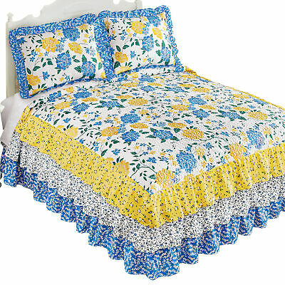 Emily Quilted Blue and Yellow Floral Ruffled Bedspread