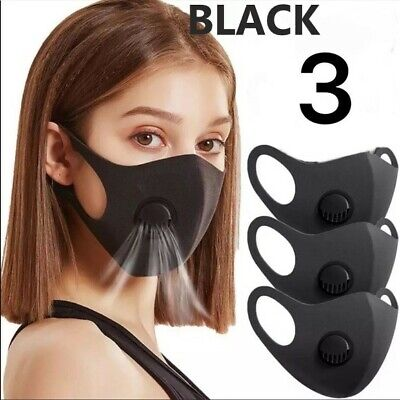 Breathable Face Mask With Filtered Ventilator (3 Masks Per Pack)