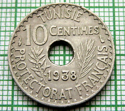 Tunisia French Protectorate Ahmad Ii Ah1357 - Ad 1938 10 Centimes