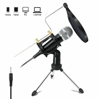 Professional Condenser Microphone Recording with Stand for PC Computer Chat Mic